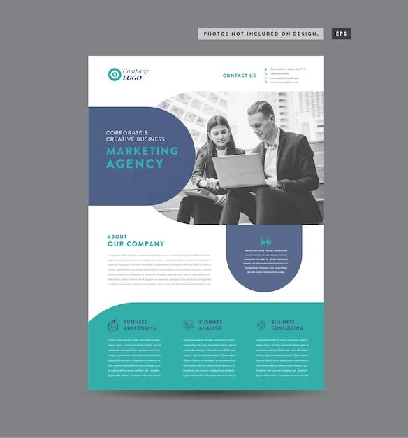 Apostila e design de folheto design de folheto corporativo design de folha de marketing Vetor Premium