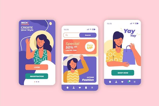 App de compras de moda Vetor grátis