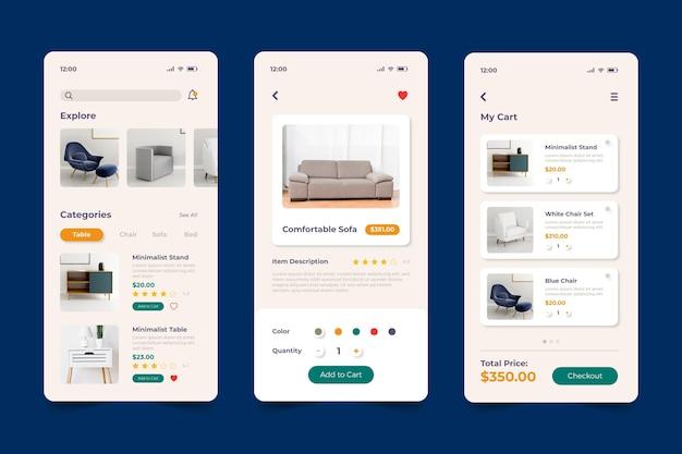 App de compras de móveis Vetor Premium