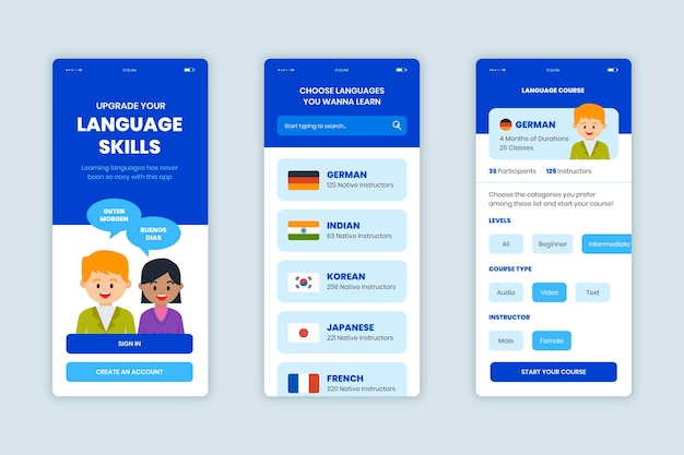 App para aprender idiomas Vetor grátis