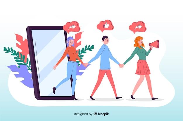 App para se referir a um amigo ilustrado Vetor grátis