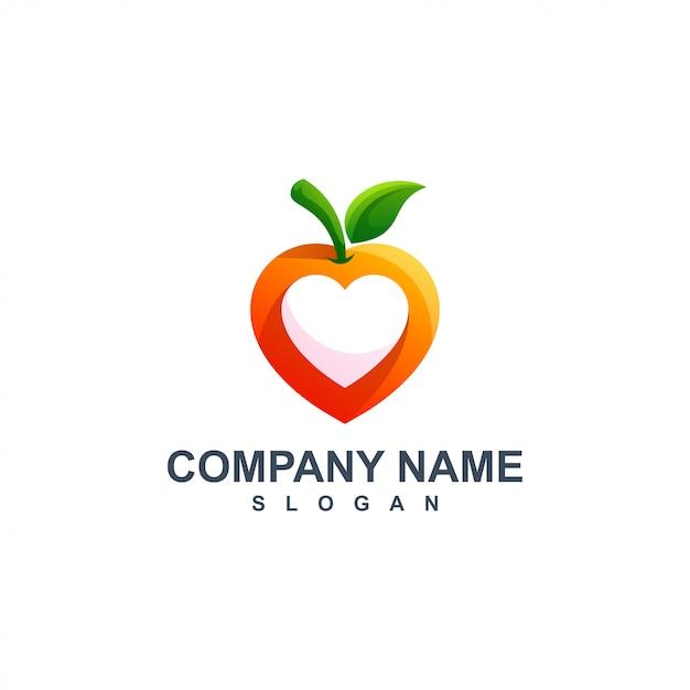 Apple com design de logotipo de coração Vetor Premium