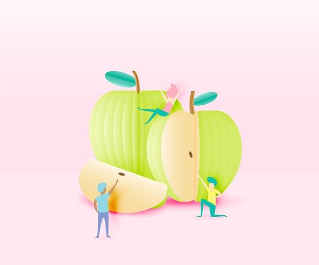 0b60894462125 Apple com pessoas engraçadas no estilo de arte de papel e ilustração ...