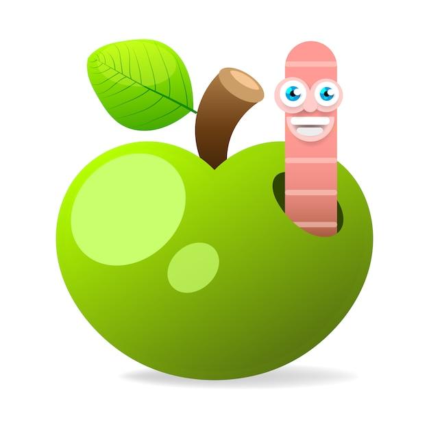 Apple com worm na ilustração vetorial de fundo branco Vetor Premium