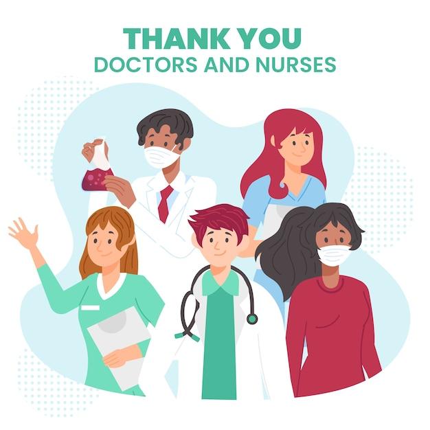 Apreciação de médicos e enfermeiros ilustrada Vetor grátis