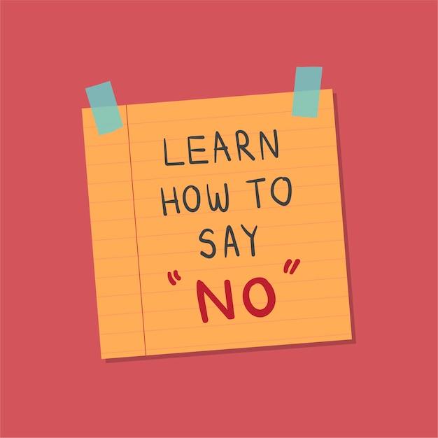 Aprenda a dizer sem nota ilustração Vetor grátis