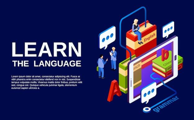 Aprenda a ilustração da língua, estudo do conceito de línguas estrangeiras. Vetor grátis