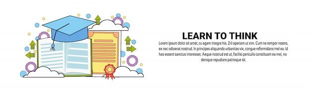 Aprenda a pensar modelo de banner horizontal conceito Vetor Premium
