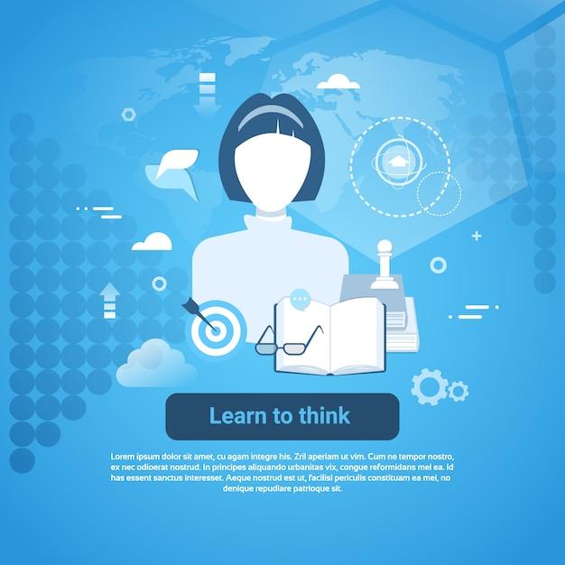 Aprenda a pensar modelo web banner com cópia espaço Vetor Premium
