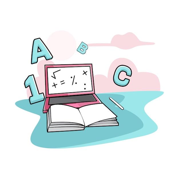Aprenda a usar um laptop Vetor Premium