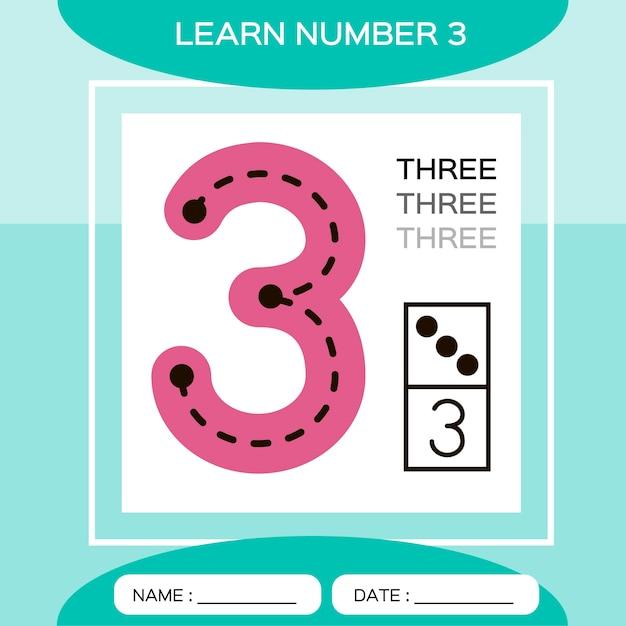 Aprenda o número 3. três. jogo educativo para crianças. jogo de contagem. Vetor Premium