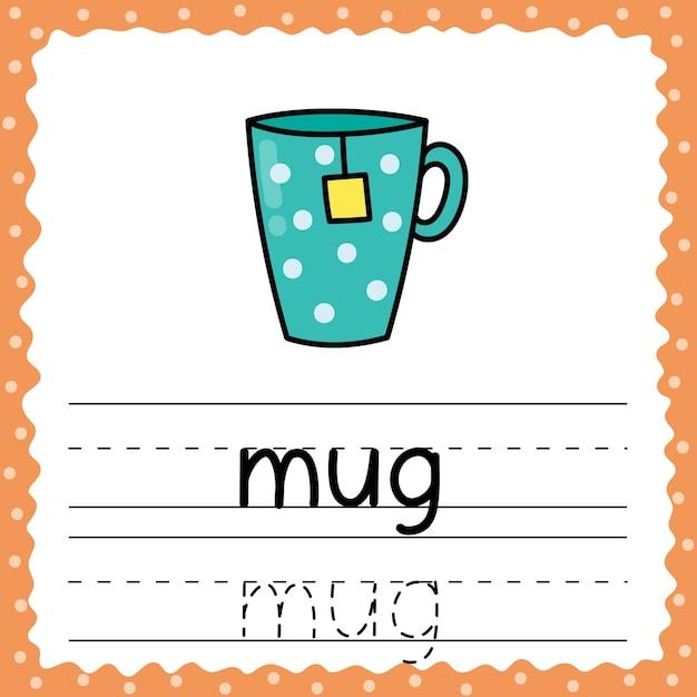 Aprendendo a escrever palavras - caneca. escrevendo planilha de prática para crianças. trace palavras simples flashcard para crianças. ilustração vetorial Vetor Premium