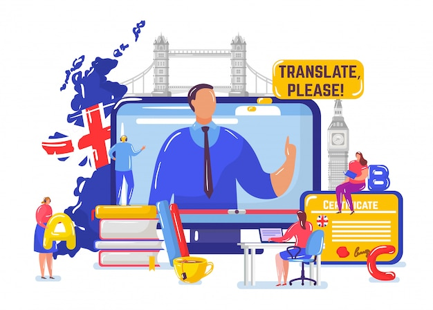 Aprendendo inglês on-line, pessoas minúsculas dos desenhos animados aprendem inglês no curso a distância, educação em branco Vetor Premium