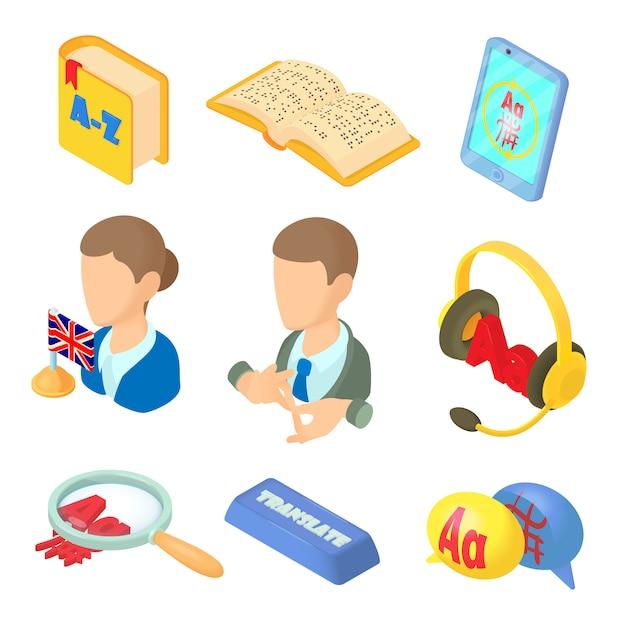 Aprendendo línguas estrangeiras ícones definidos no estilo cartoon Vetor Premium