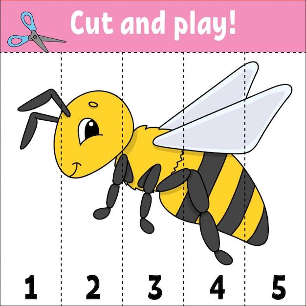 Aprendendo números. cortar e brincar. planilha de desenvolvimento de educação. jogo para crianças. página de atividade. Vetor Premium
