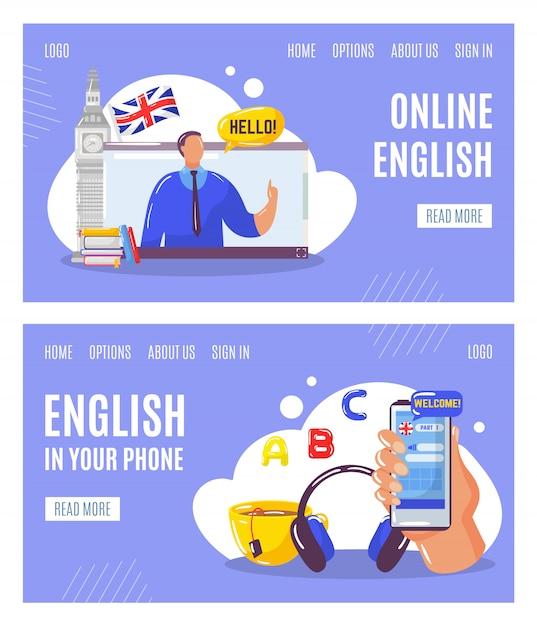 Aprendendo o idioma inglês on-line com o professor, a educação em seus banners da web de telefone definir ilustração. Vetor Premium