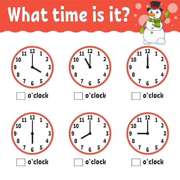 Aprendendo o tempo no relógio. planilha de atividade educacional para crianças e crianças. Vetor Premium