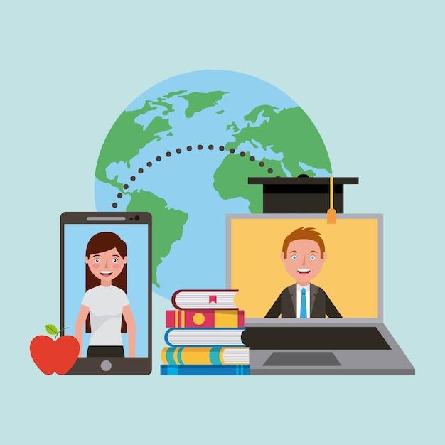 Aprendendo online Vetor Premium