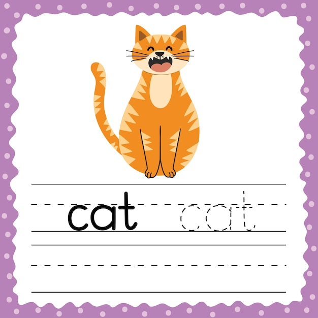 Aprender a escrever palavras flashcard. palavra de três letras - gato. rastreamento de cartão de flash de exercício com animal bonito. planilha de prática de redação. Vetor Premium