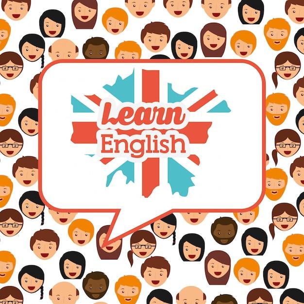 Aprender inglês design Vetor grátis
