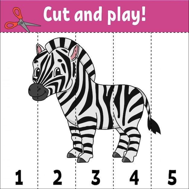 Aprender números, cortar e brincar com uma zebra Vetor Premium