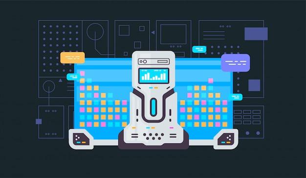 Aprendizado de máquina, algoritmo, banner de vetor de linha plana de inteligência artificial com ícones isolados em azul Vetor Premium