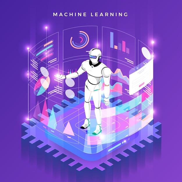 Aprendizado de máquina do conceito de ilustrações via inteligência artificial com dados e conhecimento de análise de tecnologia. isométrico. Vetor Premium
