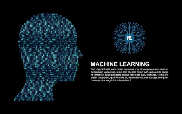 Aprendizado de máquina. inteligência artificial. Vetor Premium
