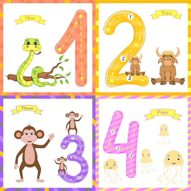 Aprendizagem das crianças para contar e escrever. Vetor Premium