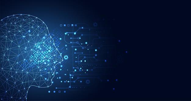 Aprendizagem de máquina de inteligência artificial Vetor Premium