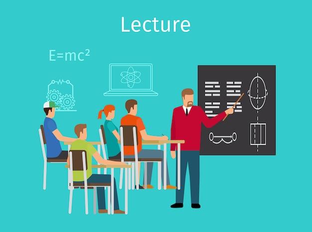 Aprendizagem do conceito de educação e ícone de palestras Vetor Premium