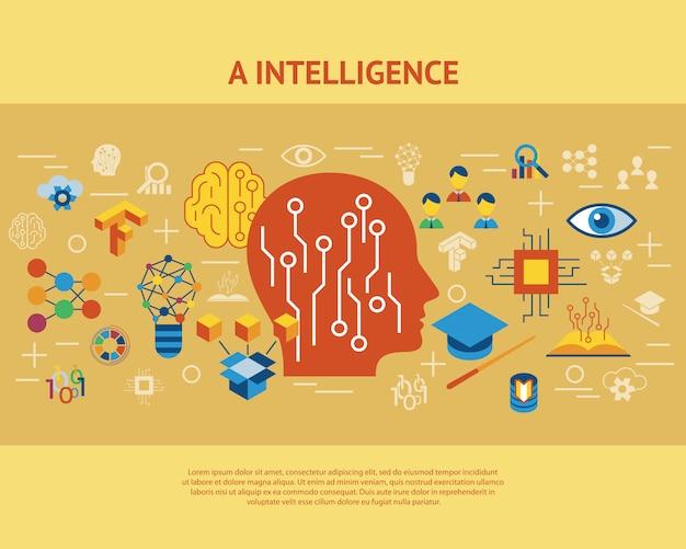 Aprendizagem profunda e coleção de ícones de inteligência artificial Vetor Premium