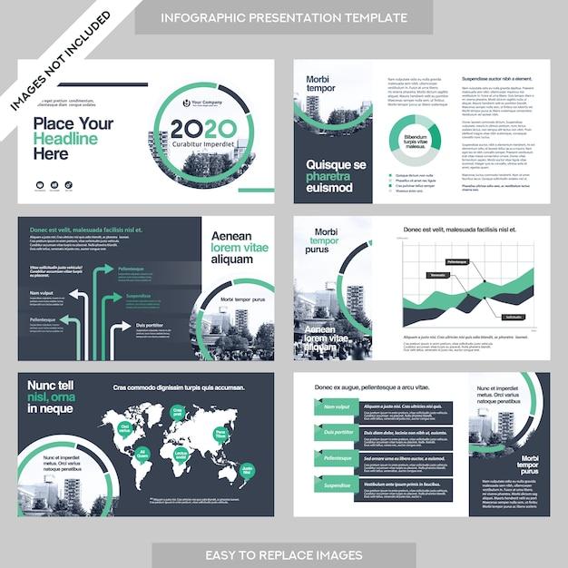 Apresentação da empresa business company com template infographics. Vetor Premium