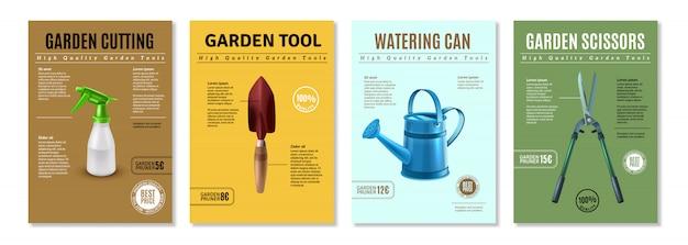 Apresentação de acessórios de ferramentas de jardim banners de cartazes de propaganda realista conjunto com tesouras de poda, equipamento de rega Vetor grátis