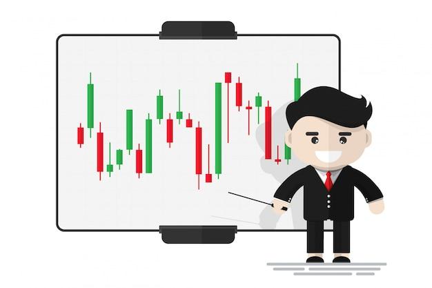 Apresentação de empresário feliz sobre mercado de ações na placa digital Vetor Premium
