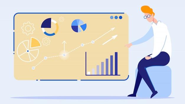 Apresentação de gráfico crescente de negócios a bordo Vetor Premium