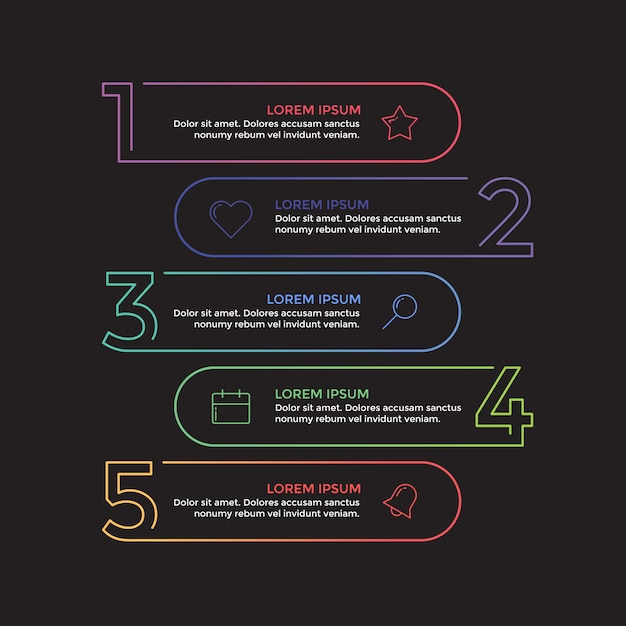 Apresentação de negócios infográfico linha moderna Vetor Premium