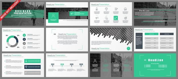 Apresentação de powerpoint de negócios slides modelos de elementos de infográfico. Vetor Premium