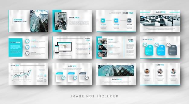 Apresentação de slides de negócios azul mínimo power point com infográfico Vetor Premium
