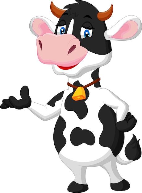 Apresentação de vaca bonito dos desenhos animados Vetor Premium
