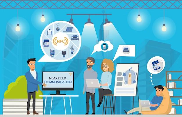 Apresentação freelance nfc no espaço de coworking Vetor Premium