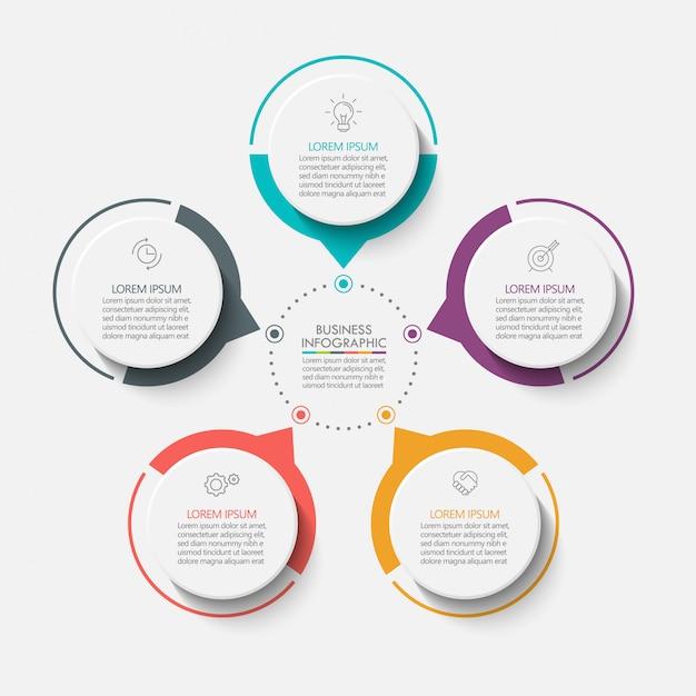 Apresentação modelo de infográfico de círculo de negócios com 5 opções. Vetor Premium