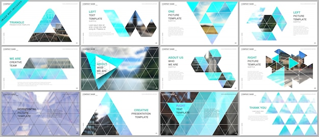 Apresentações cobrem modelos de portfólio com padrão triangular Vetor Premium