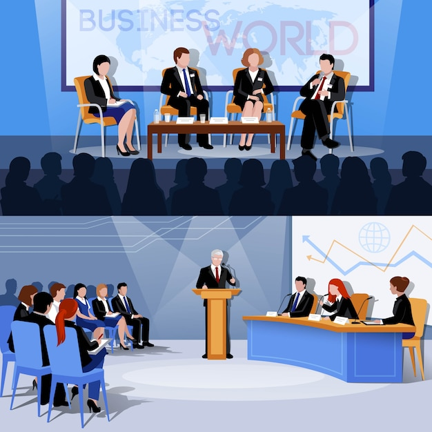 Apresentações de conferências internacionais do mundo dos negócios Vetor grátis