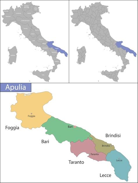 Apúlia é uma região da itália, localizada na parte sul peninsular do país Vetor Premium