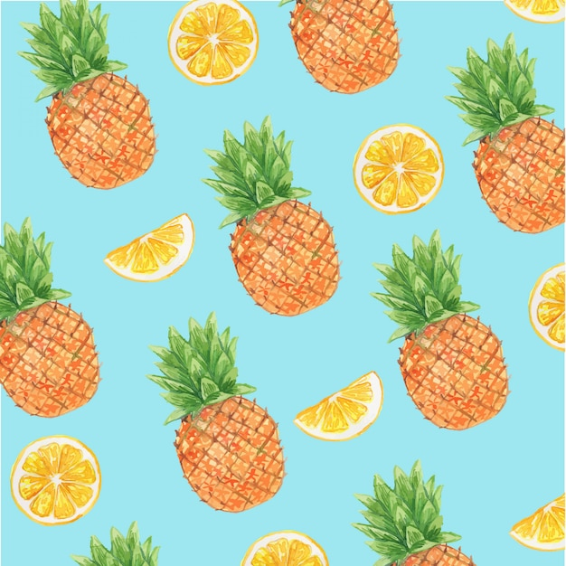 Aquarela abacaxi e limão frutas cítricas sem costura padrão Vetor Premium