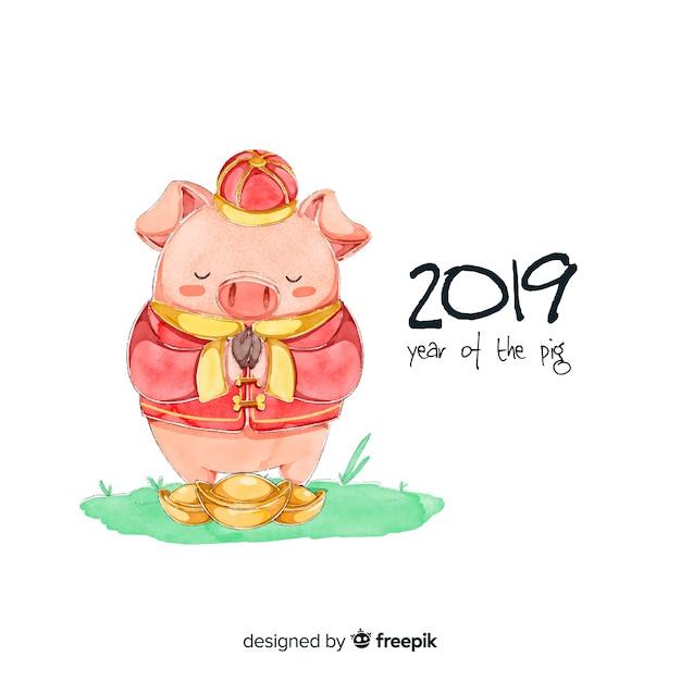 Aquarela ano novo chinês 2019 fundo Vetor grátis