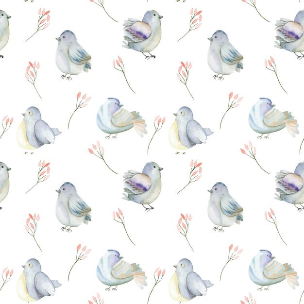 Aquarela azul pássaros e flores cor de rosa sem costura padrão Vetor Premium