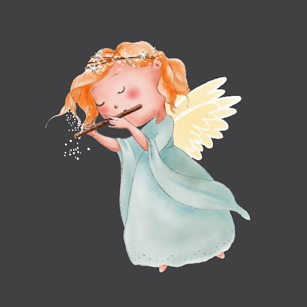 Aquarela bonito dos desenhos animados anjo tocando flauta Vetor Premium
