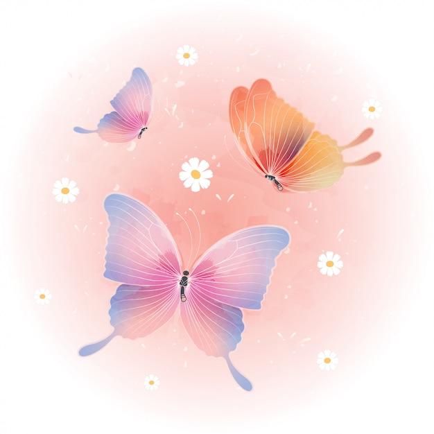 Aquarela borboleta bonito. linda borboleta voadora Vetor Premium